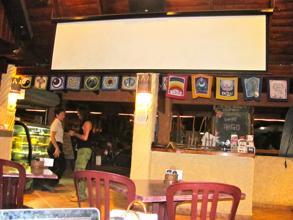 Although currently empty, El Sano Banano is my favorite place to eat in Montezuma. I arrived early last night to snag a table with a view for the movie, Argo. They play movies in English at no extra charge!