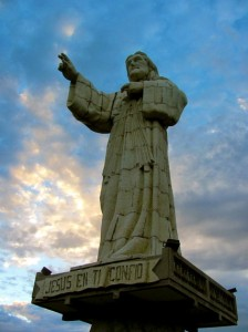 """Thou Shalt Not Steal"" says the Jesus statue overlooking the bay of San Juan Del Sur. It is the 2nd largest Jesus statue in the world!"