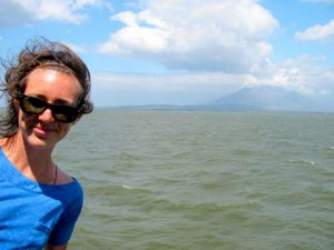 On the boat to Ometepe with Concepcion in the background.